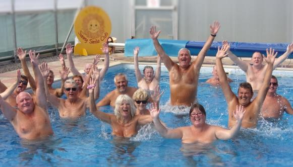 The lovely pool and people at Woodpecker in Wales Naturist Club